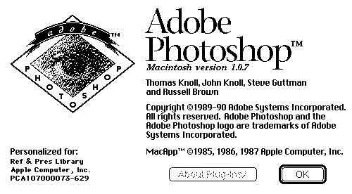 adobe photoshop 1.0 splash screen - unpocogeek.com