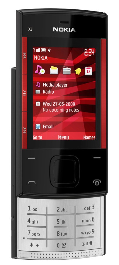 nokiax3_black_red_front_left