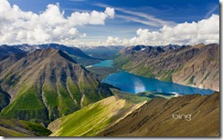 View of Kathleen Lake from Kings Throne Mountain, Kluane National Park, Yukon, Canada
