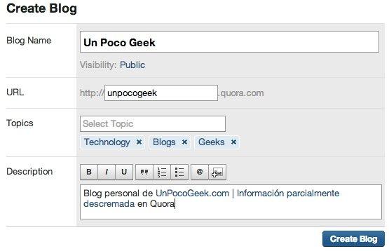 blog creation form in quora - unpocogeek.com