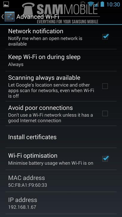 android 4.3 for galaxy s4 leak -wifi- unpocogeek.com