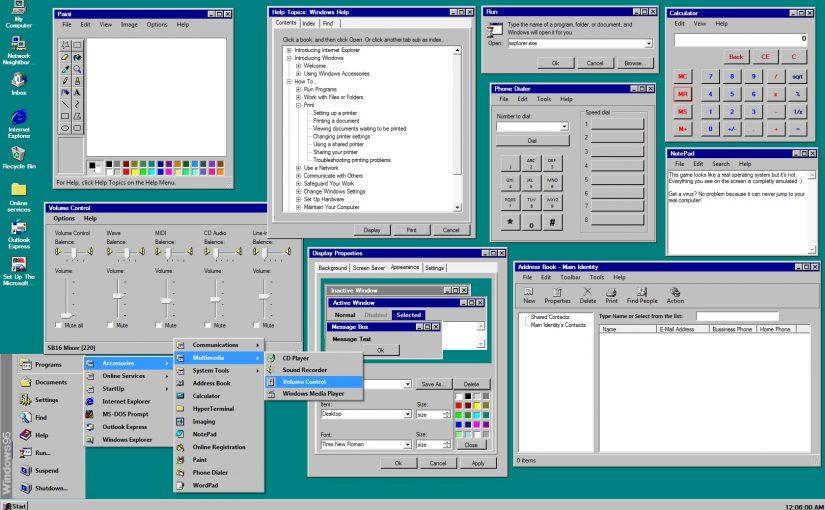 Utiliza Windows 95 en tu navegador web