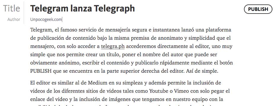Telegraph, la plataforma de blogging de Telegram