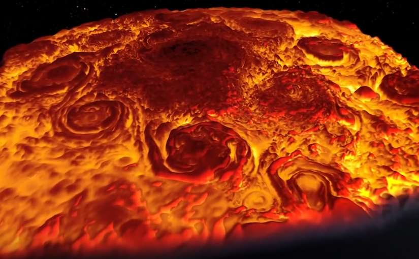 Los ciclones en el polo norte de Júpiter