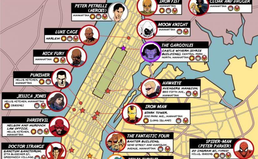 Mapa con los superheroes que protegen New York