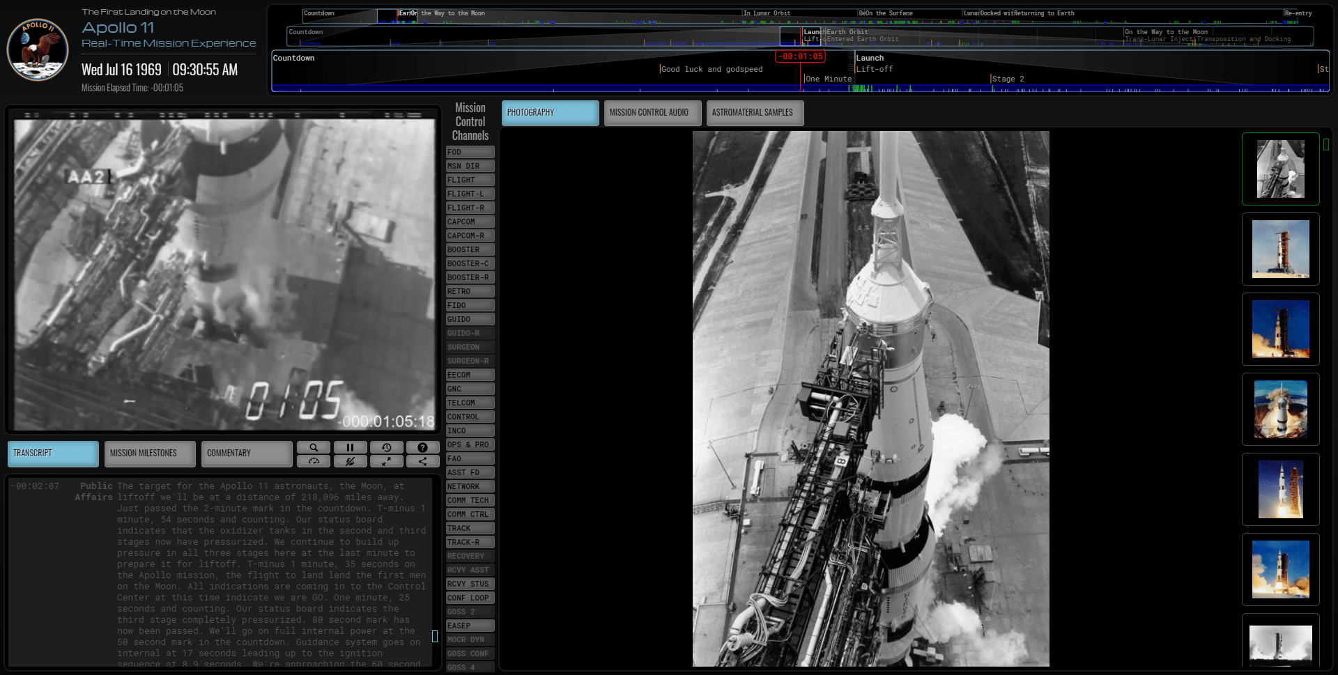 NASA revive la mision Apollo 11 en tiempo real